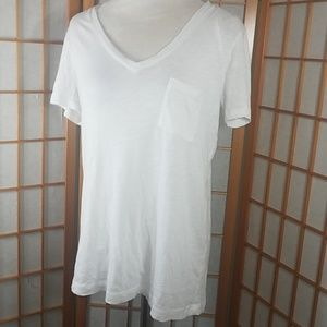 Madewell whisper cotton white V-neck pocket tee